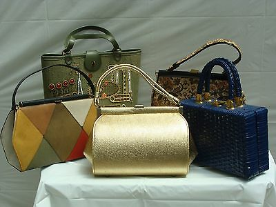 Vintage Lot 5 Color Block, Gold Lame, Enid Collins Kit, Tapestry, Straw Purses