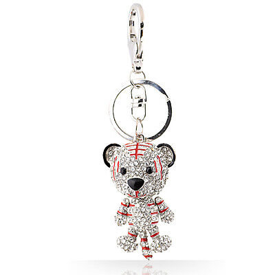 Ultra Cute Red Stripe Crystal Tiger Key Ring or Bag Charm, Easter Gift Ideas
