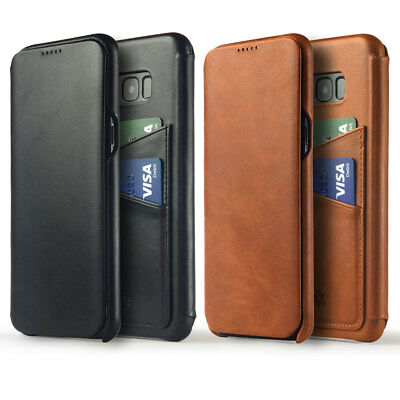 Novada Genuine Leather Flip Wallet Cover Case for Samsung Galaxy S8 & S8+