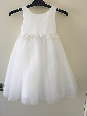 Flower Girl White Tulle Lace Dress Size 2 Occasion Party Wedding Flowergirl