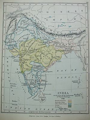 Antique Print Map Dated 1905 India 1785 Close Of Government Warren Hastings