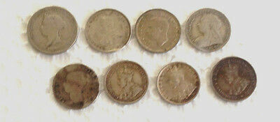 8 x victoria coins  mixed  lot .925 Sterling Silver  #95