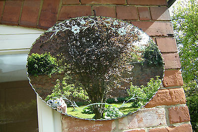 Vintage Retro Oval Bevelled Edge Wall Hanging Mirror