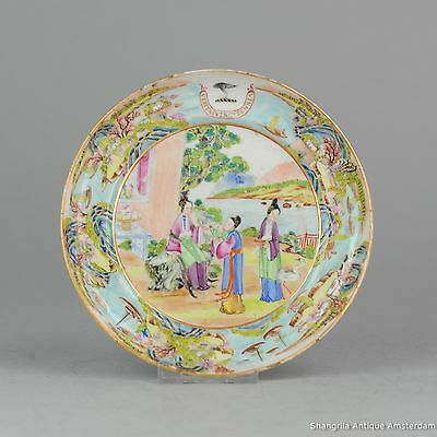 Antique 19C Chinese Porcelain China Mandarin Rose Armorial Plate Landscape Qing