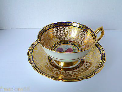 Vintage Floral PARAGON Cobalt Blue Gold Gilding Bone China Cup & Saucer Set