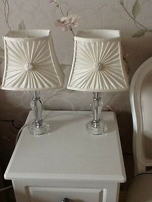 Pair beautiful crystal table lamps with silk shades for Furniture kingdom benfleet