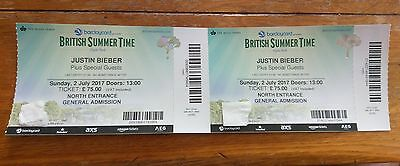 Justin Bieber at British Summer Time - Hyde Park - Sunday 2nd July - x2 Tickets
