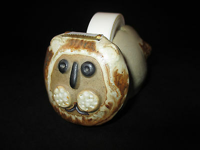 Vtg~Stoneware~Lion~Desk Top Tape Dispenser w/ Spool and Tape~Made by Takahashi