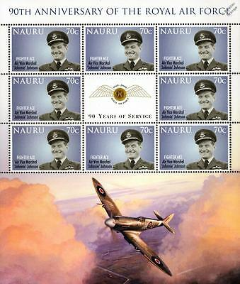 JOHNNIE JOHNSON Spitfire Fighter Ace Pilot WWII Aircraft RAF Stamp Sheet