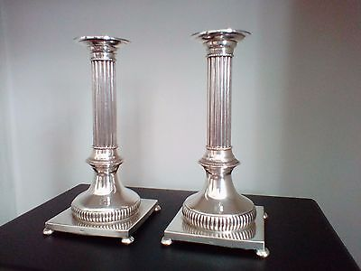 a quality pair of 19th century silver Corinthian column candlesticks 1087g