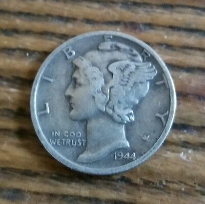 USA Silver Mercury One Dime 1944 w UNITED STATES OF AMERICA  Coin