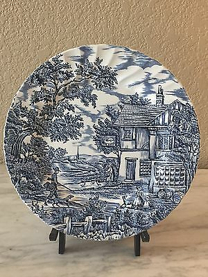 "Myott England ""The Hunter"" Dinner Plate Blue White Transferware"