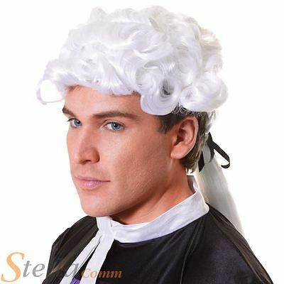 Adult Judge Wig Barrister Lawyer Court Fancy Dress Costume White Mens Ladies