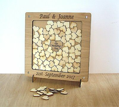Personalised Wooden Wedding Drop Box With Hearts A Guest Book Alternative 1a