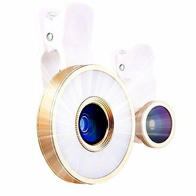 Apple iPhone 7/7 Plus Clip on Selfie Ring Light LED Portable 3 HD glass lens New