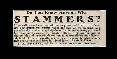 1905 Antique AD Stammering Speech Defects Quack Medicine Collectible Print AD