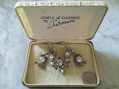 vintage '1950 SHERMAN crystal necklace and earrings, with original box