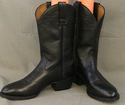 ARIAT Size 9D Mens 34601 Black Leather Western Style Embroidered Cowboy Boots