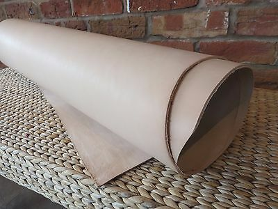 "NATURAL VEG TAN CRAFT LEATHER HIDE - SELECT YOUR THICKNESS - 24"" X 12""(60x30)cm"