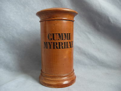 Antique biedermeier wooden treen pharmacy apothecary jar GUMMI MYRRHAE 1830s