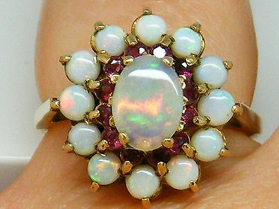 9CT Gold 9K Gold Heavy Vintage Opal & Ruby cluster ring size O 4.1 grams