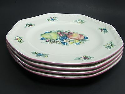 """Avon China Sweet Country Harvest Pattern 7 """" Octagon Salad Plates Lot of 4"""