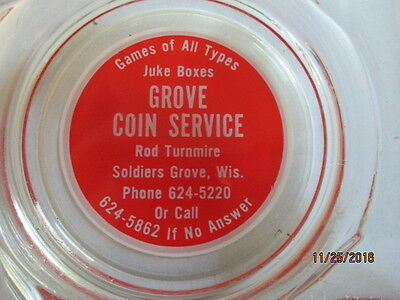 Vintage Jukebox Grove Coin Service Glass Ashtray- N.o.s.