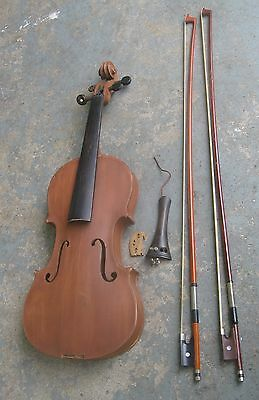 Old Fiddle w/ Two Bows. Vintage Violin. 4/4 Full Size. Repair Project.