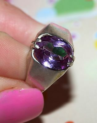 Magic RARE Amethyst stone Ring Silver 875 USSR Antique