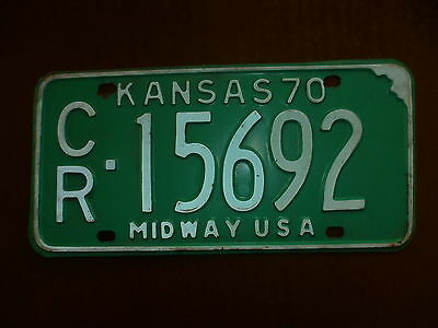 "1970 Kansas ""Midway USA""  License Plate     Excellent Condition"