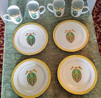 8pc Gold Buffet Royal Gallery Green Faberge Eggs Gold Trim Mugs / Cups & Plates