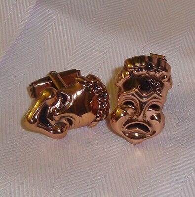 Gorgeous pair of men's vintage Comedy Tragedy copper Cufflinks.