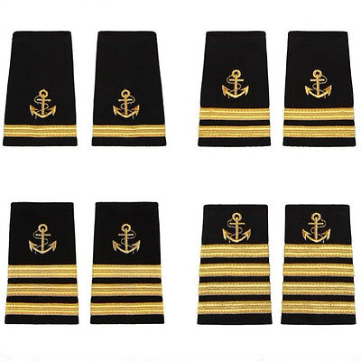Captain Mate Uniform Shoulder Boards Epaulets With Gold Anchor & Gold Bars