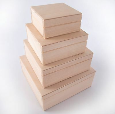 4 in 1 or separately Wooden Square Keepsake Boxes /Plain Trinket Memory Craf Box