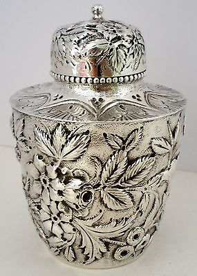 Gorgeous Sterling Silver Hand Chased Repousse Tea Caddy S Kirk & Son Co C. 1900