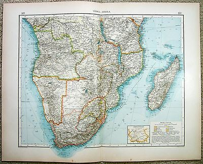Large Original 1899 Map of Southern Africa by Velhagen & Klasing