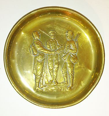 Ww1 Souvenir Trench Art Brass Tray British French Belgian  Soldiers