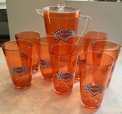 Harley Davidson Acrylic Pitcher And 8 Cups Set Bar & Shield Checkered Flag