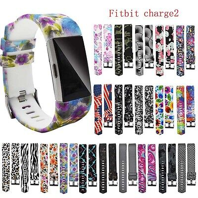 Replacement Silicone Printed Sport Watch Band Strap Bracelet For Fitbit Charge 2