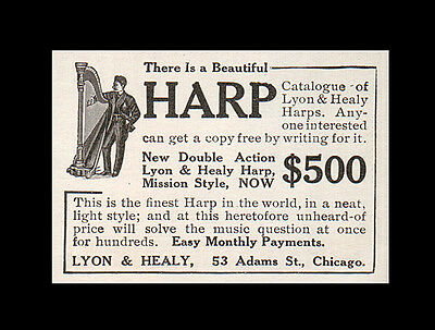 Harp Musical Instrument Lyon & Healy Chicago 1908 Antique AD Music Advertising