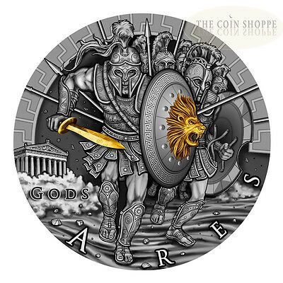 ARES - GREEK GOD OF WAR - 2017 2 oz Pure Ultra High Relief Silver Coin - Antique