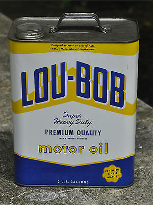 Vintage Lou Bob Motor Oil Two Gallon Can Chicago MINT Condition