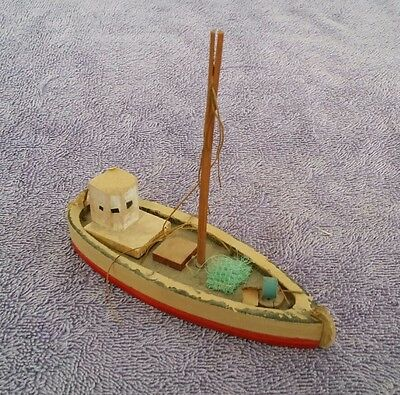 "ANTIQUE Toy Boat Wood Wooden  (Penco?)  Red Ship Vintage 5.5"" Model Sail Child"