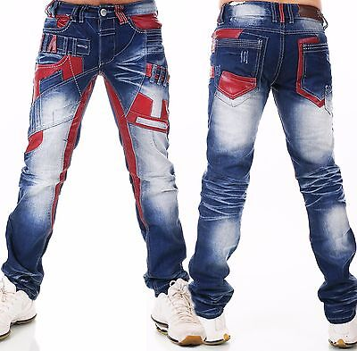 Herren Jeans  Hose HIGHNESS Loose Fit Men´s Wear Wet Look Patches W29-W38