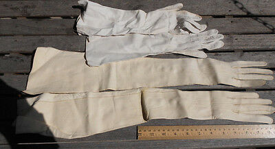 Lot of Vintage White Kid Leather Evening Gloves
