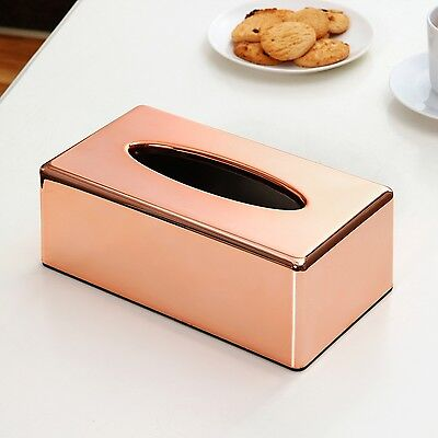 Paper Rack Tissue Box Rectangle Shaped Container Towel Napkin Holder Rose Gold