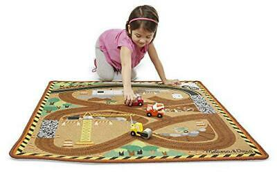 Round the Construction Zone Work Site Rug With 3 Wooden Trucks (39 x 36 inches)
