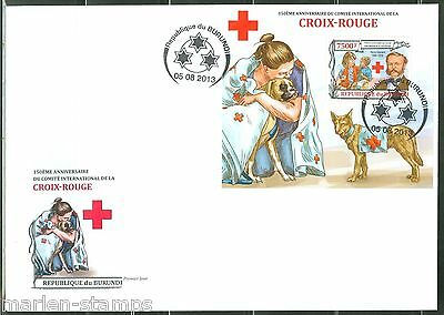 BURUNDI 2013 150th ANNIVRSARY OF THE RED CROSS   SOUVENIR SHEET FIRST DAY COVER