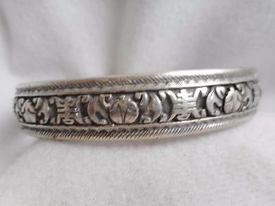 Signed Chinese Export Sterling Silver Flying Bats Cuff Bracelet -& Flowers 8.5'