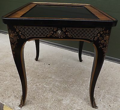 Antique Style Drexel Chinoiserie Side Table Black Lacquer Finish Et Cetera Coll.